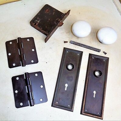 Antique Hardware Set Mission Backplate White Porcelain Door Knobs Mortise Lock