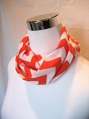 Baby TODDLER Child's Girls Dark Orange Chevron jersey knit Circle Infinity Scarf