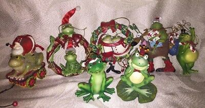 Frog Christmas Ornaments Lot Of 7 Resin #35 Unique and beautiful
