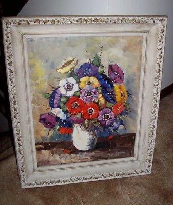 Lovely Vintage Dutch Signed W De Boer Flowers in Vase Painting Oil Amazing Frame
