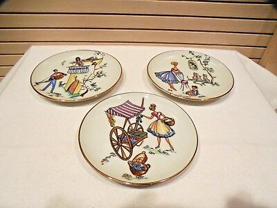 Set Of 3 Naaman Ltd Porcelain Coasters--French Countryside Scene--Israel