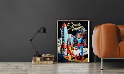 """Large Size 24""""x32"""" Space Happy Poster - 1950's Rocketship Science Fiction"""