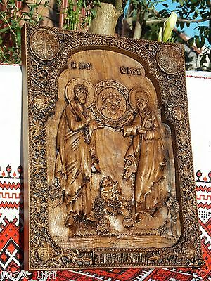 Saint Peter and Paul WOOD CARVED ICON RELIGIOUS GIFT WALL HANGING ART WORK