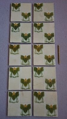 Original set of 10 victorian art nouveau fireplace tiles