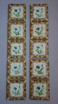 Original set of 10 victorian fireplace tiles