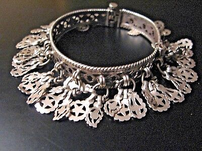 Vintage Old Tribal Rajasthan Silver Bracelet Dangle Charms Belly Dance