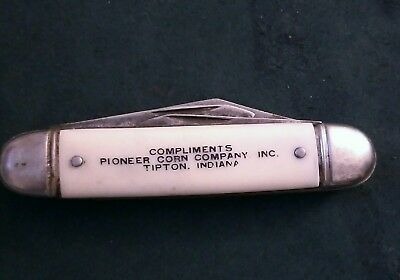Vintage Pioneer Corn Co. Tifton Indiana farm seed advertising pocket knife USA