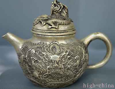 Rare Collectable Handwork Old Miao Silver Carve Mighty Dragon Exorcism Tea Pot
