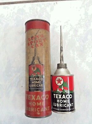 Rare Vintage TEXACO Home Lubricant Long Spout OIL CAN + ORIGINAL CANISTER OILCAN