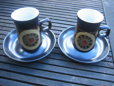2 x Denby Arabesque Coffee Cups + Saucers ~ cups stand approx 10 cm high