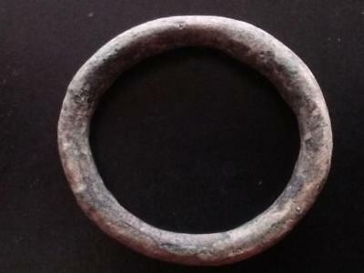 Large 29mm Genuine Ancient CELTIC Bronze Ring Money ~600 BC Sandy Patina #3