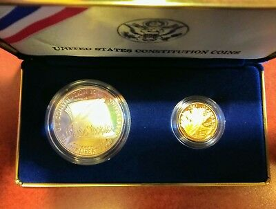 Proof 1987-S U.S. Constitution 2-Coin Set: $5 Gold and Silver Dollar, No Reserve