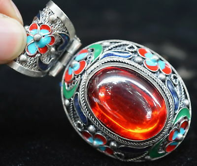 Collectable Chinese Old Miao Silver Colour Flower Inlay Crystal Noble Pendant