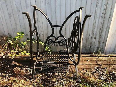 Vintage ornate Victorian cast iron White treadle sewing machine base
