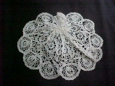 "ANTIQUE EARLY 19th C JABOT BRUSSELS / FRANCE LACE 6""X7""CELLOULOID/HOOK BACK"