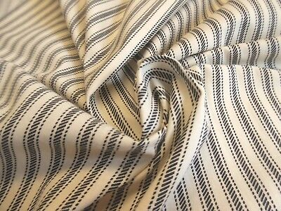 "TICKING STRIPE COTTON~SUIT WEIGHT~BLUE/CREAM~18""x44""~DOLL FABRIC"