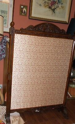 Very large Victorian antique fire screen