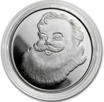 1/2 oz .999 Fine Solid Silver Art-Round New Mint  Santa - Believe In The Magic