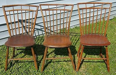 Set of 3 Antique Vtg Hand Carved Faux Bamboo Wood Windsor Dining Chairs
