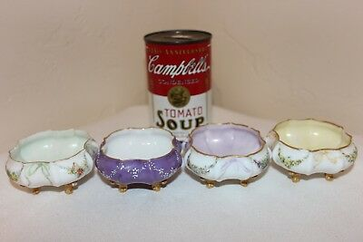 """Antique Porcelain Hand Painted Cellars, Delicate and Beautiful, Signed """"L M W"""""""