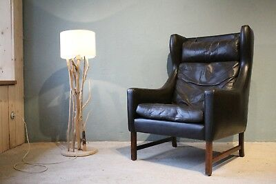 Leder Sessel Schwarz Palisander/ armchair with rosewood danish teak leather 60s