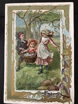 McLaughlin's Roasted Coffee Victorian Trade Card VTC Three Children Play Basket