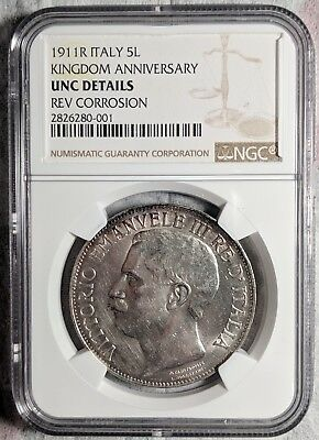 1911 R Italy 5 L Kingdom Anniversary Silver Coin NGC UNC Details Rev Corr Scarce