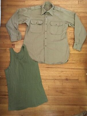 Vintage US Army Khaki Cotton Stand Up Collar Military Shirt W/ Tank S/M