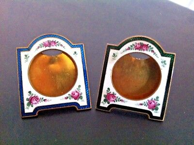 2 ( Pair ) of Antique Vintage MINIATURE ENAMELED PICTURE FRAMES Enamel Frame Nr