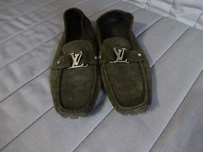 d865b2427111 Authentic Louis Vuitton Monte Carlo Mens Dark Green Suede Loafers LV Size 12