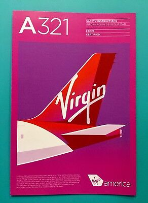 Dec 2017 Virgin America Airlines Safety Card--Airbus 321 Rev 2