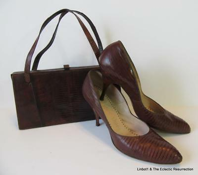Vintage 1950s Lizard Skin Frame Purse & Matching Shoes Size 8 Narrow Brown