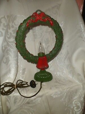 Rare Htf Vintage Antique Huge Old Cast Iron Electric Light Christmas Wreath
