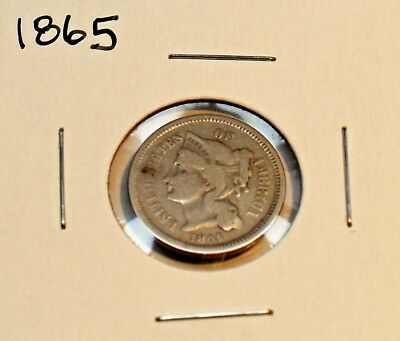 1865 Three Cent Nickel In Very Good Condition A Collector Coin