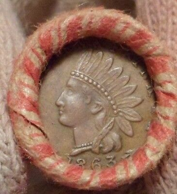 Old Civil War Token is on the end of a 50-coin Mixed Indian / Wheat Cent Roll 3s