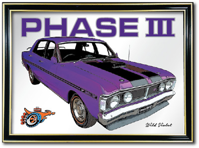 Bar Mirror Ford Falcon Xy Gt Ho Phase 3 Wild Violet Barware Auto Collectable