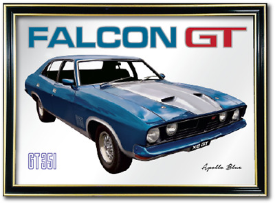 Bar Mirror Ford Falcon Xb Gt Apollo Blue Barware Sign Auto Collectable Art