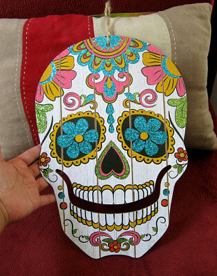SUGAR skull sparkly decor wall Door Calavera Mexico Halloween COLORFUL  catrina