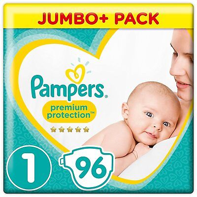 Pampers Premium Protection Size 1 Nappies Mega Saving Pack of 96 Diapers 2-5 kg