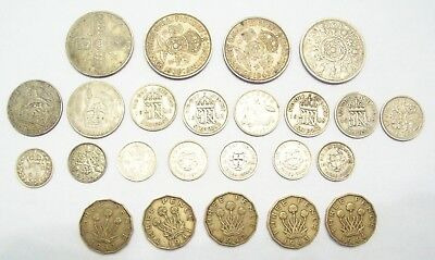 Lot Of 24 Great Britain Coins--15 Are Silver--1891 To 1957