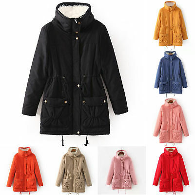 Hot Women's Winter Warm Fur Hooded Military Outwear Fur Lined Coat Parka Trench