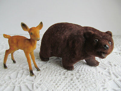 Vintage Felt Flocked Brown Bear Figurine Piggy Coin Bank + Fuzzy Deer Hong Kong