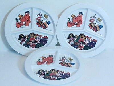 McDonald's melamine divided plates, set of 3, 1988