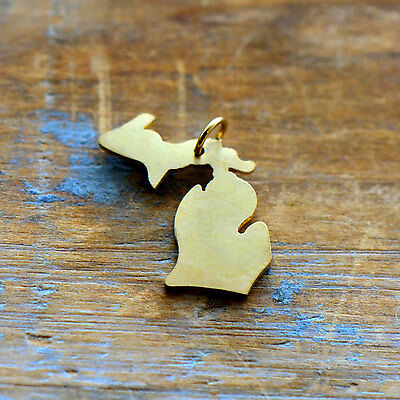 Michigan State Charm - Brushed 24k Gold Plated Stainless Steel Pendant - Minimal