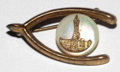Rare Antique? Wishbone Pin Brooch Mother Of Pearl Unknown Architectural Building
