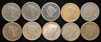 1844 - 1853 Date Run Lot of Large Cents   10 Coins   Circulated