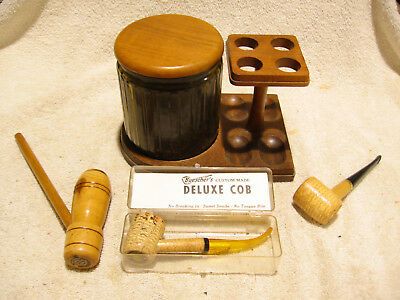 Vintage Wooden Pipe Holder and Tobacco Humidor Jar with 3 Buescher's Pipes