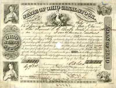 1848 State of Ohio Canal Stock Certificate