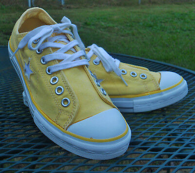 CONVERSE ONE Star Low Top SNEAKERS Yellow Canvas No Laces-Laces Added Women 9