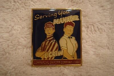 1990 Serving You Manager and Crew McDonald's Pin, Vintage Restaurant Pin Food Ad